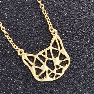 Gold Kitty Cat Artistic Necklace